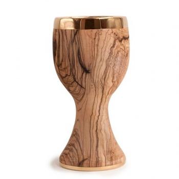 Calice liscio in legno di ulivo con coppa e base in ottone dorato